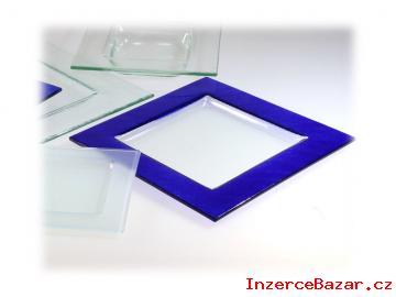 Talíře sklo čtvercové